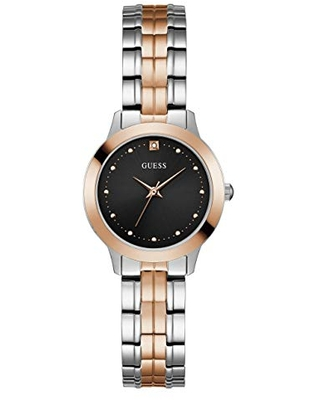 GUESS Women's Quartz Watch with Stainless Steel Strap, Black, 24 (Model: U1222L1)