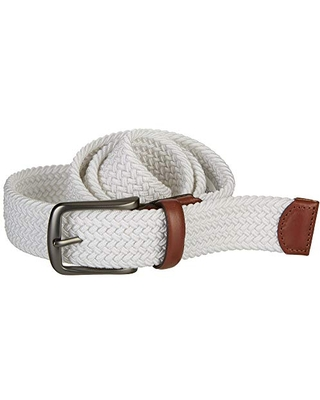 Perry Ellis Men's Woven Stretch Leather-Trim Belt, White, Small