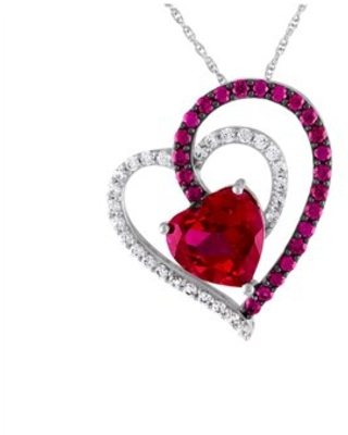 Believe by Brilliance Sterling Silver Plated Simulated Ruby & CZ Heart Pendant