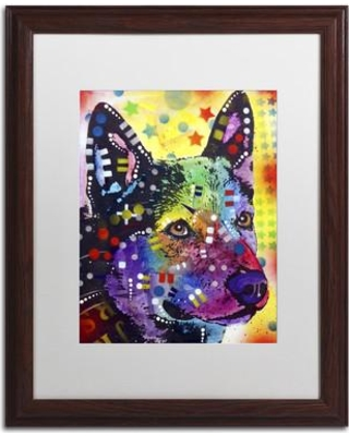 """Trademark Art """"Aus Cattle Dog"""" by Dean Russo Matted Framed Painting Print ALI1602-W1114MF / ALI1602-W1620MF Size: 20"""" H x 16"""" W x 0.5"""" D"""
