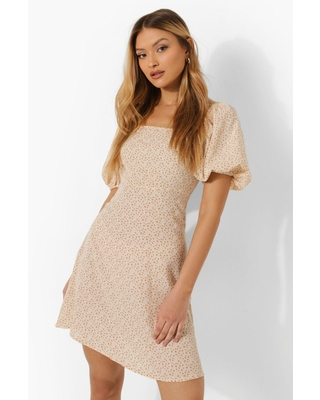 Womens Floral Puff Sleeve Square Neck Smock Dress - Beige - 10
