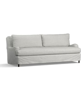 "Carlisle Slipcovered Grand Sofa 90.5"" with Bench Cushion, Down Blend Wrapped Cushions, Basketweave Slub Ash"
