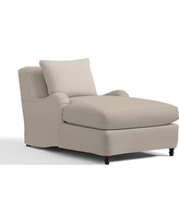 Carlisle Slipcovered Chaise, Polyester Wrapped Cushions, Performance Twill Stone