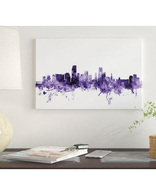 """East Urban Home 'Miami Florida Skyline' by Michael Tompsett Graphic Art Print on Wrapped Canvas EUME4579 Size: 18"""" x 26"""" x 0.75"""""""