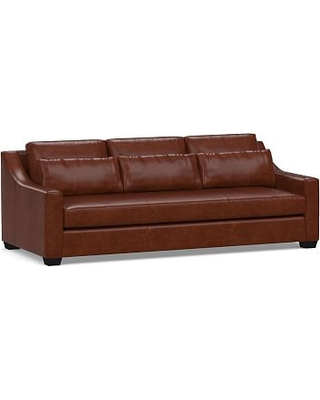 """York Deep Seat Slope Arm Leather Sofa 80"""" with Bench Cushion, Polyester Wrapped Cushions, Statesville Molasses"""