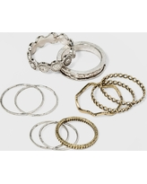 Open Work and Thin Delicate Ring Set 10pc - Universal Thread , Women's, Size: 4 7 8, MultiColored