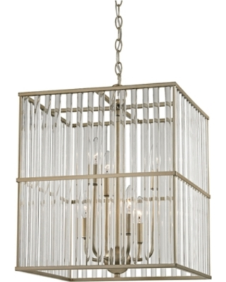 Six Light Chandelier in Aged Silver With Oval Glass Rods, Aged Silver