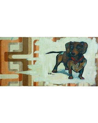 """Latitude Run 'Daschunds Are Cool' Oil Painting Print on Wrapped Canvas LRUN5433 Size: 18"""" H x 36"""" W x 1.5"""" D"""