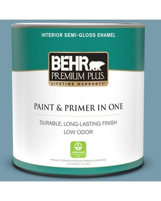 BEHR PREMIUM PLUS 1 qt. #S470-4 Dolphin Blue Semi-Gloss Enamel Low Odor Interior Paint and Primer in One