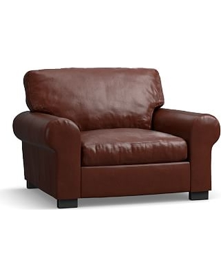 """Turner Roll Arm Leather Grand Armchair 48"""", Down Blend Wrapped Cushions, Signature Whiskey"""
