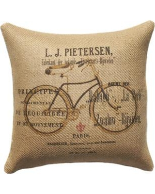 One Allium Way Declan Bike Burlap Throw Pillow ONAW6191