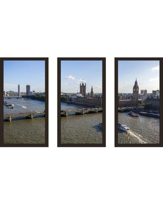 """PicturePerfectInternational 'British Parliament from London Eye' 3 Piece Framed Photographic Print Set 704-4459-1224 / 704-4459-1632 Size: 25.5"""" H x 40.5"""" W x 1"""" D"""