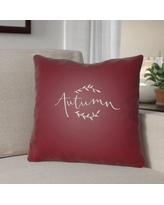 """The Holiday Aisle Autumn Indoor/Outdoor Throw Pillow HLDY1189 Size: 18"""" H x 18"""" W x 4"""" D, Color: Red/White"""