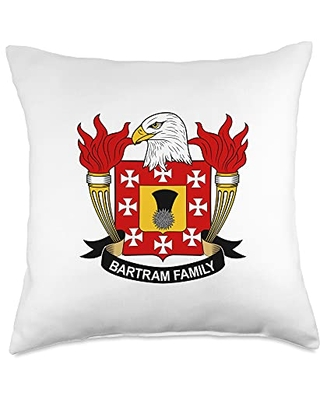 Family Crest and Coat of Arms clothes and gifts Bartram Coat of Arms - Family Crest Throw Pillow, 18x18, Multicolor
