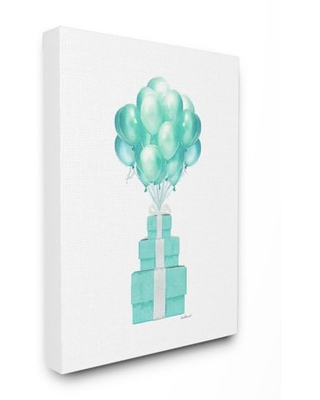 Stupell Industries Blue Balloons And Presents Watercolor Design Canvas Wall Art by Amanda Greenwood