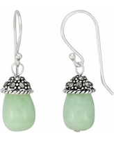 Tori Hill Sterling Silver Jade and Marcasite Drop Earrings, Women's, White
