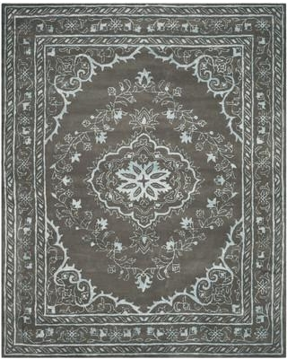 Bungalow Rose Samaniego Hand-Tufted Wool Dark Gray Area Rug BNGL8255 Rug Size: Square 6'