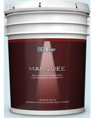 BEHR MARQUEE 5 gal. #520E-1 Coastal Mist Matte Interior Paint and Primer in One