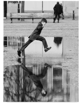 """East Urban Home 'The Puddle Jumper' Photographic Print on Wrapped Canvas W001034561 Size: 47"""" H x 35"""" W x 2"""" D"""