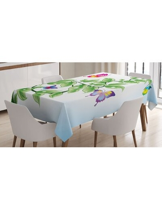 Floral Branch with Leaves Butterflies and Drops of WaterTablecloth East Urban Home