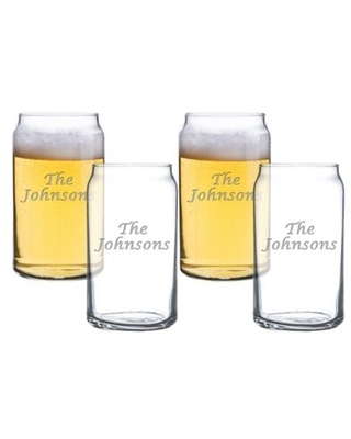 Carved Solutions Multi Name Beer Can Glasses (Set of 4)