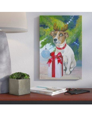 """Ivy Bronx 'Reindeer Terrier' Painting Print on Wrapped Canvas IVYB1474 Size: 36"""" H x 24"""" W x 1.5"""" D"""