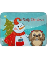 The Holiday Aisle Snowman with Shih Tzu Memory Foam Bath Rug THLA5031 Color: Chocolate/Brown