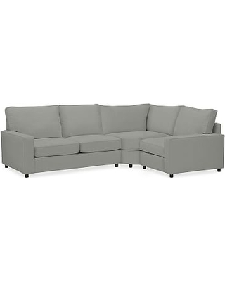 PB Comfort Square Arm Upholstered Left 3-Piece Wedge Sectional, Box Cushion, Down-Blend Wrap Cushions, everydaysuede(TM) Metal Gray