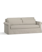 """York Roll Arm Slipcovered Deep Seat Sofa 84"""" with Bench Cushion, Down Blend Wrapped Cushions, Performance Slub Cotton Silver Taupe"""