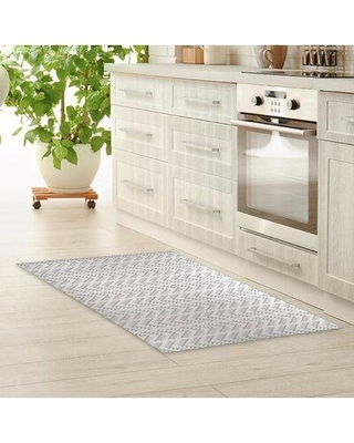 """Foundry Select Stewartsville Stitched Arrows Kitchen Mat W002449555 Mat Size: Rectangle 2'6"""" x 8' Color: Light Gray"""