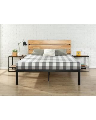 Zinus Paul Metal and Wood Platform Bed with Wood Slat Support, Queen, Black