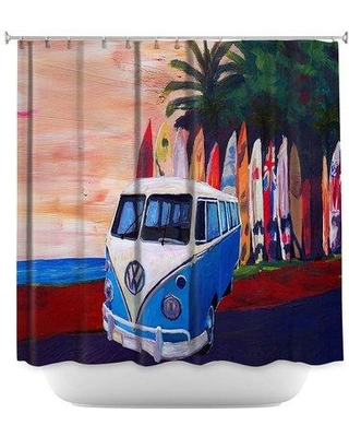 East Urban Home VW Bus Surfing 2 Single Shower Curtain BF030869