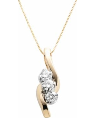 Sirena Collection 14k Gold 3-Stone 1/2-ct. T.W. Round-Cut Diamond Pendant, Women's, White