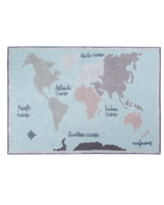 Lorena Canals Vintage Map Washable Recycled Cotton Blend Rug, Size One Size - Blue