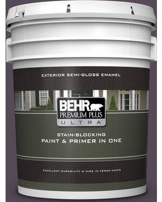 BEHR Premium Plus Ultra 5 gal. #670F-7 Blackberry Wine Semi-Gloss Enamel Exterior Paint and Primer in One