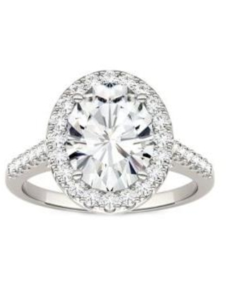 Charles & Colvard White Gold 3.48 ct. t.w. Lab Created Moissanite Halo Ring in 14K White Gold