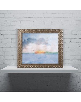 """East Urban Home 'Sunset' Framed Watercolor Painting Print EBHV6623 Size: 11"""" H x 14"""" W x 0.5"""" D"""