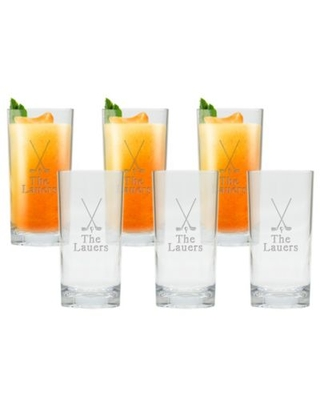 Carved Solutions Golf High Ball Glasses (Set of 6)