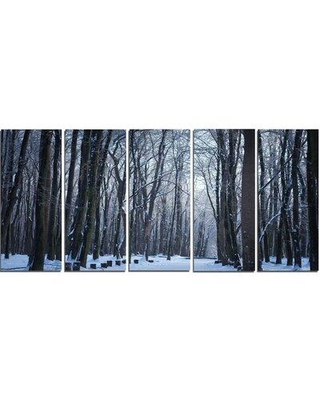 Design Art 'Thick Woods in Winter Forest' 5 Piece Photographic Print on Wrapped Canvas Set PT13990-401