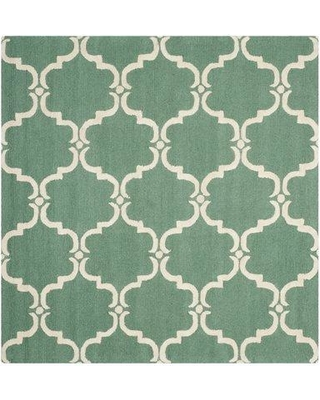 Birch Lane™ Heritage Cavas Hand-Tufted Wool Teal/Ivory Area Rug W000726885 Rug Size: Square 6'