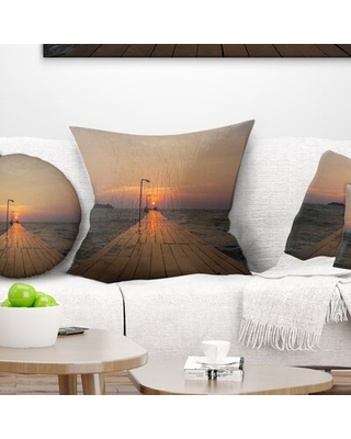 """Beach Large Pier at Koh Rong Island Pillow East Urban Home Size: 18"""" x 18"""", Product Type: Throw Pillow"""
