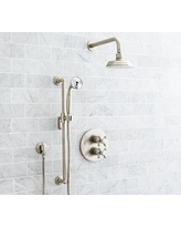 Langford Thermostatic Cross-Handle Hand-Held Shower Faucet Set, Satin Nickel Finish