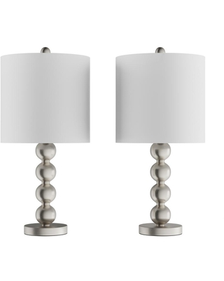 Lavish Home 24.5 in. Contemporary Brushed Silver Stacked Ball LED Table Lamps with Ivory Shades (Set of 2)