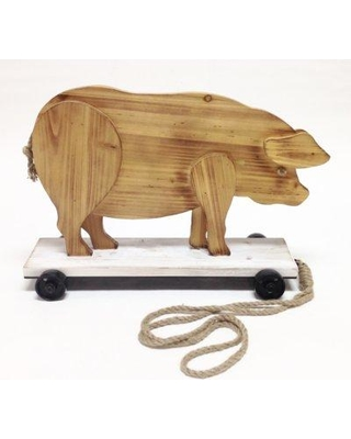 """August Grove Woodard """"Roller Skating Pig"""" Wood Pull Toy Statue W000313758"""