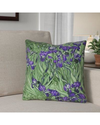 "Red Barrel Studio Morley Irises Indoor/Outdoor Throw Pillow RDBT2307 Size: 16"" H x 16"" W Color: Pink"