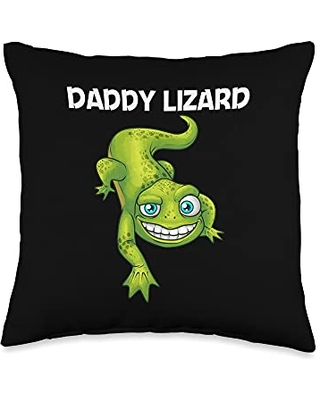 Cool Lizard Gift Salamander Zoo Keeper Clothing Funny Lizard Lover Design For Men Dad Reptile Pet Animal Throw Pillow, 16x16, Multicolor