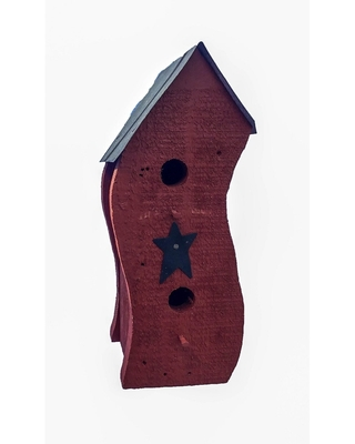 Pine Wood Smashed Bird House (Red)