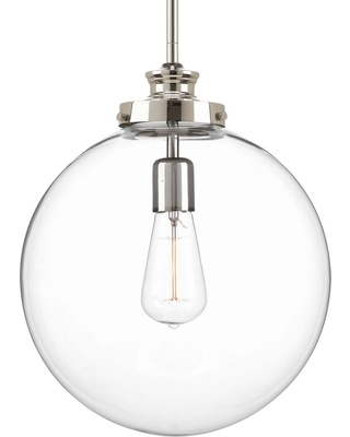 Progress Lighting Penn 12 in. 1-Light Polished Nickel Large Pendant with Clear Glass