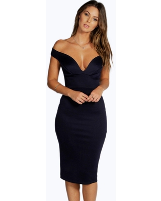 Womens Sweetheart Off Shoulder Bodycon Midi Dress - Navy - 10