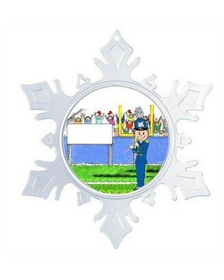 The Holiday Aisle® Personalized Friendly Folks Cartoon Snowflake Marching Band Flute Christmas Holiday Shaped Ornament X112980094